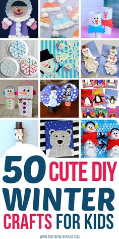 50 super cute winter crafts for kids! These crafts are a breeze to make, require household items & make a perfect winter activity for kids of all ages. Craft 50 Super Cute Winter Crafts For Kids Winter Crafts For Toddlers, Winter Activities For Kids, Winter Kids, Crafts For Kids To Make, Christmas Crafts For Kids, Toddler Crafts, Preschool Crafts, Fun Crafts, Camping Activities