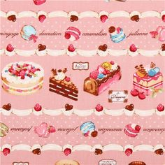 pink Cosmo pastry stripes sweets fabric Japan