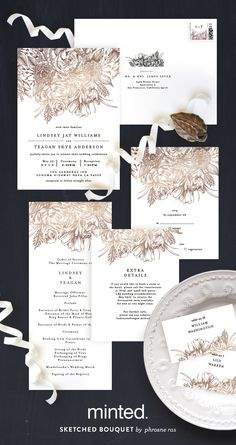A timeless love story told through the details of Minted artist Phrosne Ras' Sketched Bouquet foil-pressed wedding invitation and reception decor. Available exclusively on Minted.com