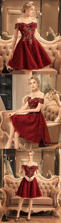Applique Short Homecoming Dress Off the Shoulder Prom Dress Lace Formal Dresses High Low Prom Dresses, Prom Dresses 2018, Formal Dresses, Formal Prom, Formal Wear, Pretty Dresses, Beautiful Dresses, Floral Maxi Dress, Dress Lace