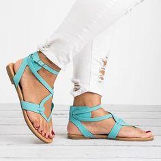 Casual Summer Stylish Flat Sandals, Five Colors - ishopshs Sandals Outfit, Blue Sandals, Sport Sandals, Strappy Sandals, Leather Sandals, Leather Boots, Pu Leather, Espadrilles, Roman Sandals