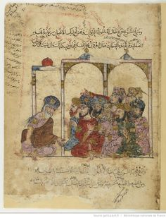 Maqamat of al-Hariri Bibliothèque nationale de France, manuscript Arabe 6094, dated 619H, 1222-23AD: folio 19r, Abu Zayd and listeners