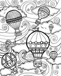 Hot Air Balloons Steampunk Style Coloring Page