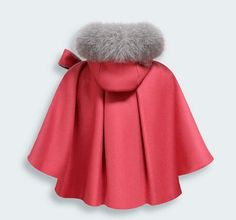 2014 autumn and winter children's clothing luxurious wool shawl cape coat Family fitted coat fox fur collar cloak girls