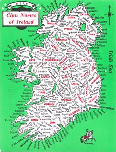 Map of Clan Names of Ireland. Celebrate Irish nationalism and Irish culture with sterling silver Irish and Celtic jewelry. Our clan names were Tobin & Bowe Genealogy Sites, Family Genealogy, Genealogy Humor, Genealogy Chart, Ireland Map, Irish Culture, Irish Roots, Thinking Day, Viajes