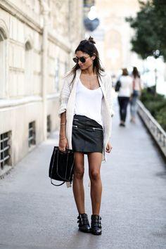 JUNESIXTYFIVE - Tenue gros gilet en laine jupe similicuir
