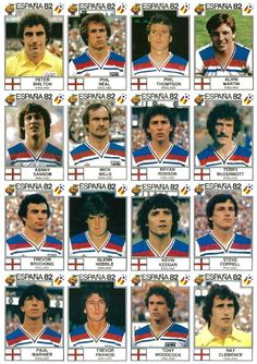England team stickers for the 1982 World Cup Finals. Football Is Life, Best Football Team, Retro Football, World Football, Nike Football, Vintage Football, Football Shirts, Soccer Cards, Football Cards