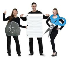 Three-Person Halloween costumes: get super clever with a rock, paper, scissors costume for your trio.