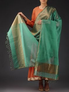 Buy Sea Green Golden Maheshwari Silk Cotton Dupatta Accessories Dupattas Vibrant Verve and Sarees Online at Jaypore.com