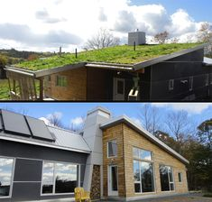 The living roof is visible on arrival to the house and replaces much of the habitat taken up by the house. The other roof line holds the solar domestic hot water panels