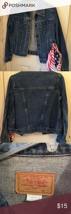 Levi Jean Jacket This jean jacket has just got broken in good, wears good. I really cherish it but it is time to let it go. It is a medium in ladies not men's. Levi's Jackets & Coats Jean Jackets