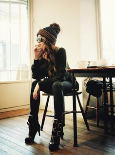 Beanie & Boots. Love the outfit! And I have similar pieces laying around... hmm... new outfit? :)