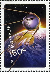 Selo: Sputnik 1957 (Austrália) (Blast off - 50 years in space) Mi:AU 2872 Space Australia, Rare Stamps, Space Race, Postage Stamps, Scenery, Poster, Travel, October, Space Travel