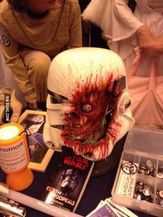 Amazing sculpture of what a real photon blast to the face of a storm trooper would look like.