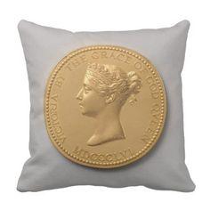 Queen Victoria Coin Throw Pillow - vintage gifts retro ideas cyo