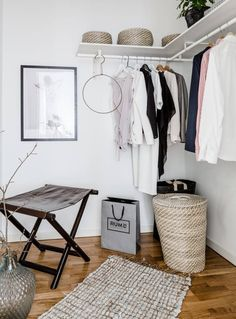 wardrobe 10 Most Functional and Beautiful Open Wardrobes for Your Home Interior Decorating Styles, Home Interior Design, Wardrobe Furniture, Walk In Wardrobe, Minimalist Home Decor, House Made, New Room, Small Spaces, Open Wardrobes