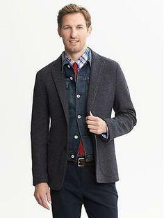 Love all the layers!  Heritage Navy Knit Blazer | Banana Republic -