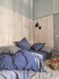 Caspar col. bleu et gris Bed, Furniture, Home Decor, Bedding, Bed Drapes, Decoration Home, Stream Bed, Room Decor, Home Furnishings