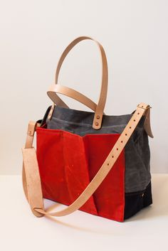 Strawfoot handmade. Waxed Canvas Utility Tote aka baby bag.