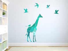 Abstract giraffe and bird decals for kids. Suitable for both boys and girls.  Measurements: Giraffe - 25 inches wide 40 inches tall 5 Birds - Each approximately 6 - 7 inches wide and 3 - 5 inches tall  Need a bigger size ? Please convo me.  The decals are printed and cut from a polyester