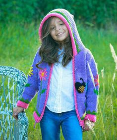 Loving this Purple Bee Knit Wool Zip-Up Hoodie - Infant, Toddler & Girls on #zulily! #zulilyfinds