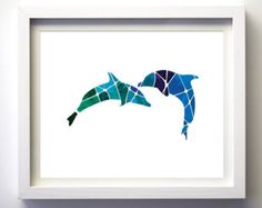 Geometric dolphins print teal purple blue wall art decor modern animal print wall art animals fish ocean mosaic art nautical decor minimal