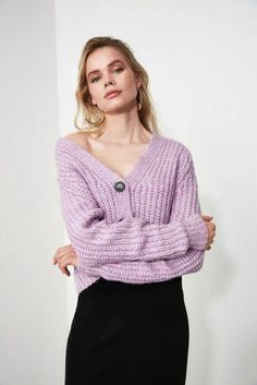 Women's Lilac Tricot Cardigan – Blushgreece.shop Lilac, Knitwear, Turtle Neck, Neckline, Pullover, Sweaters, Color, Shop, Products