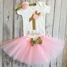 Pink and Gold Personalized Minnie Mouse 1st birthday Bodysuit