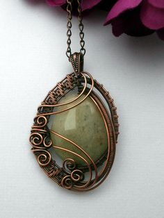 Wire Wrapped Pendant Necklace, Yellow Quartz in Copper, Handmade Wire Weaved Jewelry