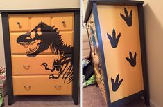 Repainted this dresser for my son! I love how it came out! #dresser #diy #paint #dinosaur