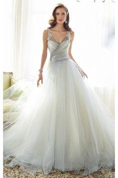 grande immagine 1 Vestido de noiva Cintura Natural Sem Mangas Cauda Pequeno Tule