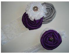 Wedding Garter set in plum purple and gray by GartersOfEden, $30.00