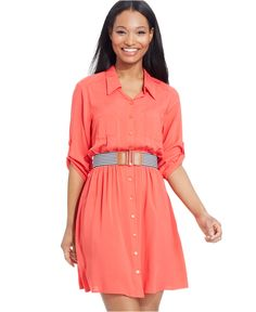 Macy's BCX Juniors' Belted Shirt Dress - On Sale for Only $39.99!