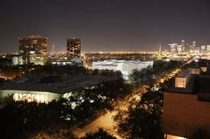 Aerial night view of the Fayez S. Sarofim Campus, with the Nancy and Rich Kinder Building and the Glassell School of Art.