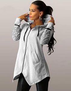 73668bde680a Hooded Zipper Irregular Pullover Top For Women Brand New Material   Polyester