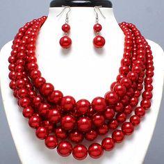 Classic Bold Red Pearl Choker Collar Bib Elegant Costume Jewelry Necklace Earr $22.99