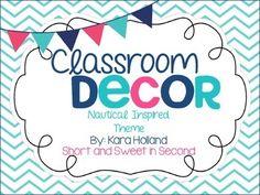 Nautical Classroom Decoration Set Chevron, Navy, pink