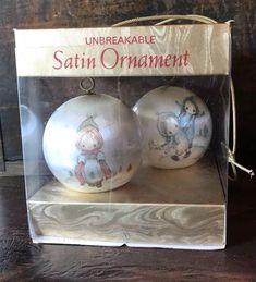 Vtg Hallmark Satin Ball Christmas Ornament Set Betsey Clark 2 Small Balls 1975