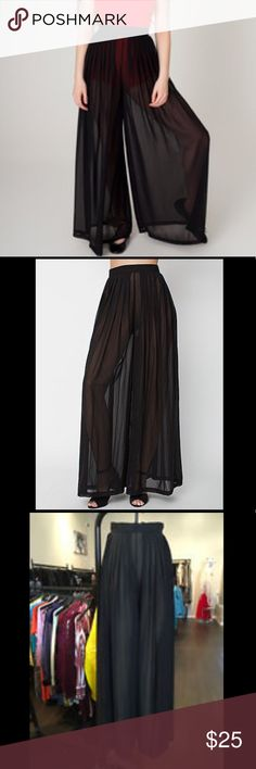 💥NWT!💥 American apparel sheer chiffon pants sz L These amazing pants are a size large, wide leg, fit high waisted, sheer, and black with lovely pleats. These are amazing, they flow so elegantly as you walk, makes you look like a star from a 1920's movie gliding across the screen.  I'd be keeping them if they fit. But I'm an XL in American Apparel stuff. Soooo these are way too tight and my loss is your gain! Scoop them up now! Thanks for checking out my closet BB's! Happy poshing! 💜🔮💜…