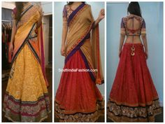 Beautiful half sarees in lovely color combinations. Brasso lehengas with heavy embellished borders, duppattas with impressive borders, paired up with designer blouses. Designed by Sagar Tenali.