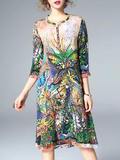 Shop Midi Dresses - Multicolor Printed 3/4 Sleeve Crew Neck Midi Dress online. Discover unique designers fashion at StyleWe.com.