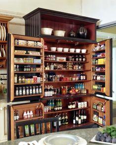 Kitchen Pantry Furniture, Kitchen Pantry Design, Kitchen Organization Pantry, Kitchen Pantry Cabinets, Diy Kitchen Storage, Interior Design Kitchen, Home Design, Design Ideas, Organized Kitchen