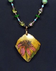 Pink Coneflower Gourd Necklace by CRITESCREATIONS on Etsy, $35.00