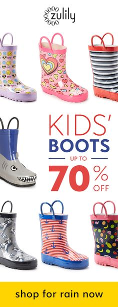 Sign up to shop boys and girls rain boots, up to 70% off. Kiddos want to splash in puddles? Get them ready to play in these durable boots. Playful prints and weatherproof designs keep feet equally cute and cozy. Shop sturdy kids' rain boots in toddler and little kid sizes. Browse our collection of colorful prints including shark rain boots, anchor rain boots, pink hearts rain boots, and more.