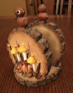 Vintage Wooden Napkin Holder w Mushrooms Birds Cedar Trail Shop | eBay