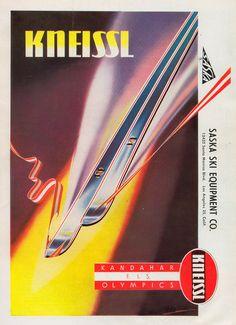 Advertisement for Saska Ski Equipment, Los Angeles, circa 1958. Kneissl ski made in Austria
