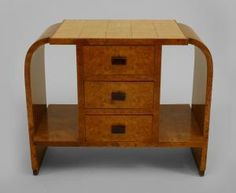French Art Deco burl maple end table with 3 drawers with walnut handles centering 2 open shelves with a shagreen top