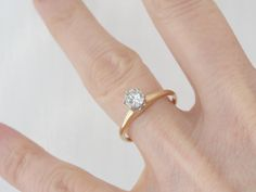 14K+Yellow+Gold+and+Platinum+Simple+Diamond+by+MSJewelers+on+Etsy,+$1,365.00