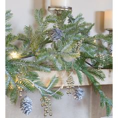Frosted pine garland. Add Chandelier Lights & Pinecones for extra glamour.  L.1.5m