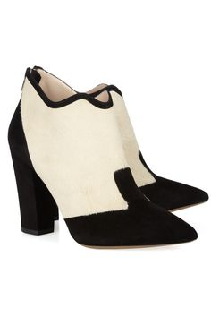 Nicholas Kirkwood|Calf hair and suede ankle boots|NET-A-PORTER.COM